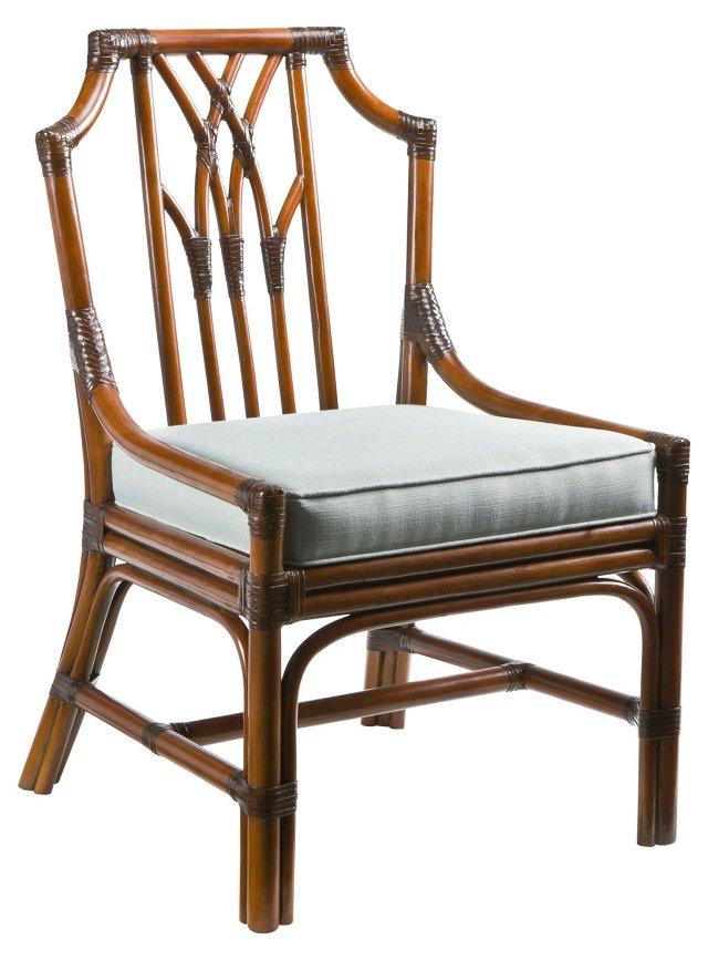 Greenwich Rattan Side Chair, China Blue