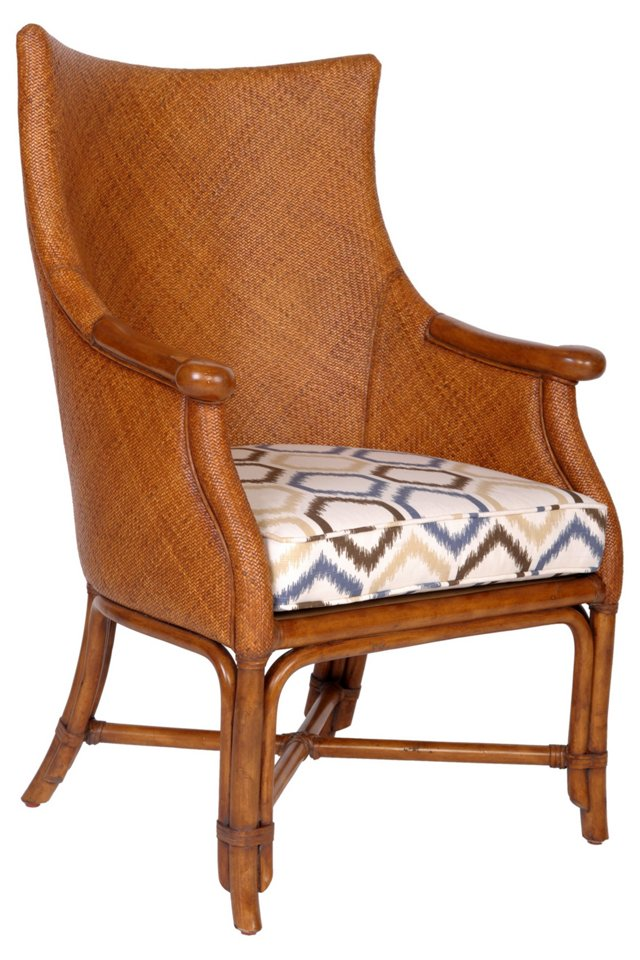 Twill Ikat-Print Chair, Blue/Ivory