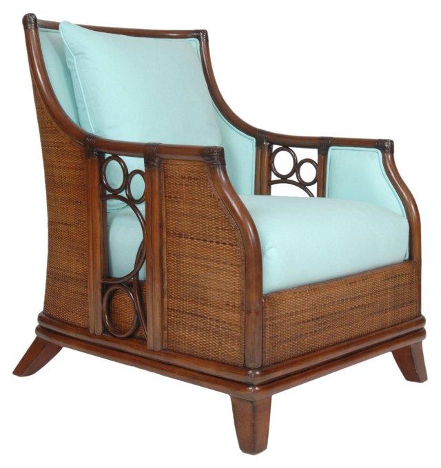 Wilshire Rattan Lounge Chair, Blue
