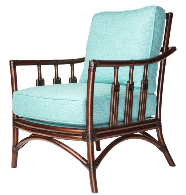 St. Barts Rattan Lounge Chair, Turquoise