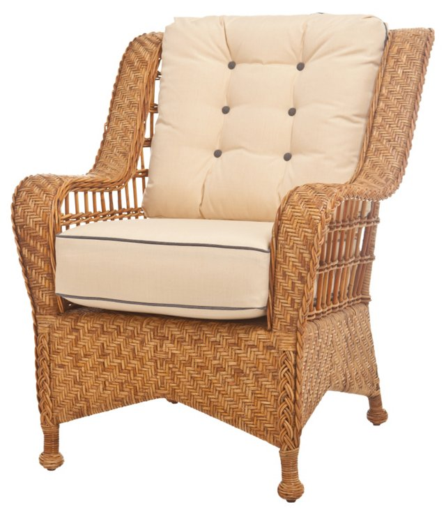 Mozambique Rattan Lounge Chair, Ivory