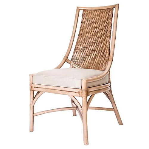 Alana Rattan Side Chair, Beige