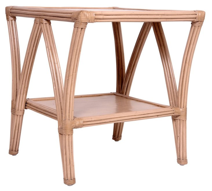 Cathedral Rattan Nightstand, Almond