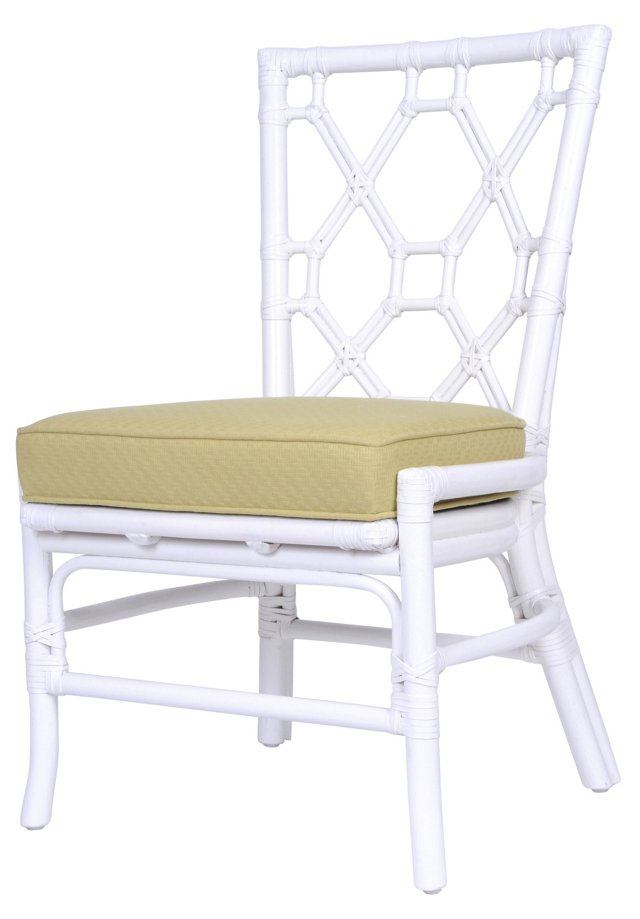 Lattice-Back Rattan Side Chair, Celery