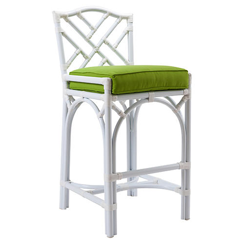Chippendale Outdoor Stool, White/Green