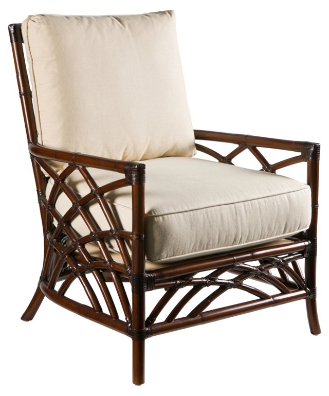 Cathedral Rattan Lounge Chair, Sand