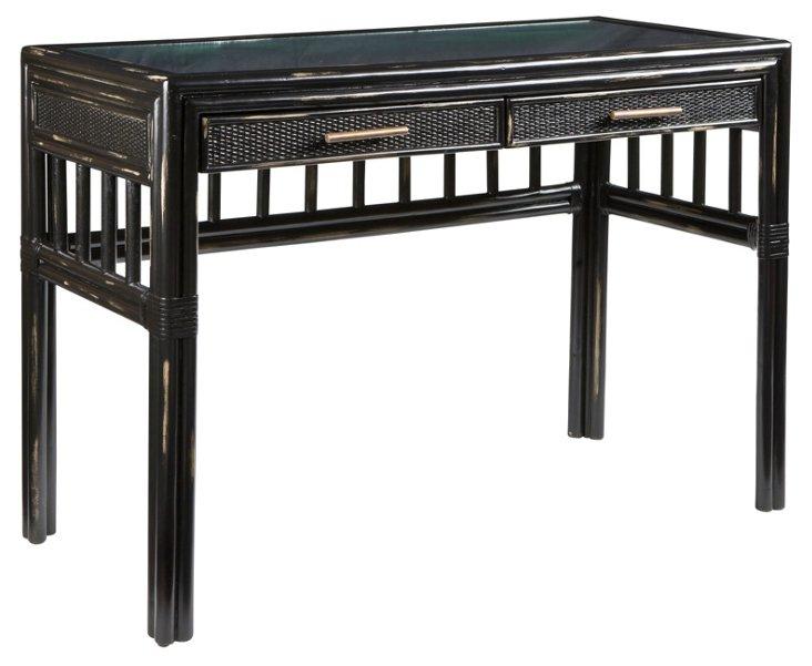 Colony Rattan Desk, Black
