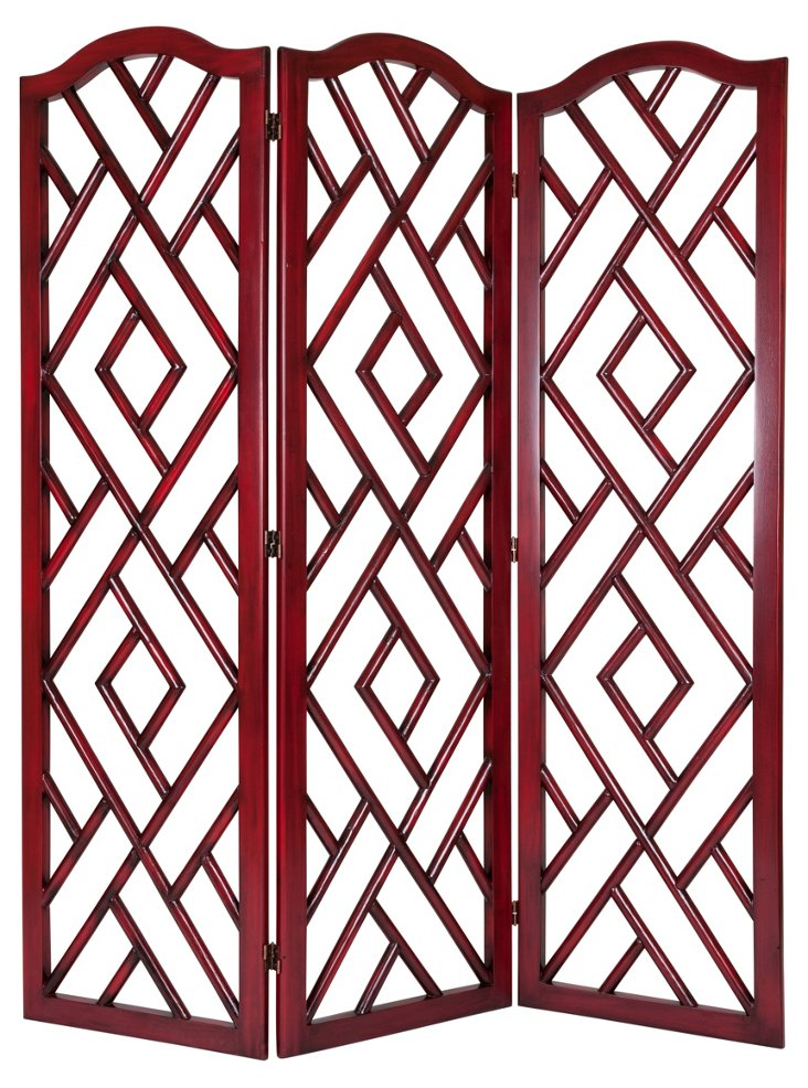 Chippendale Rattan Room Screen, Cherry