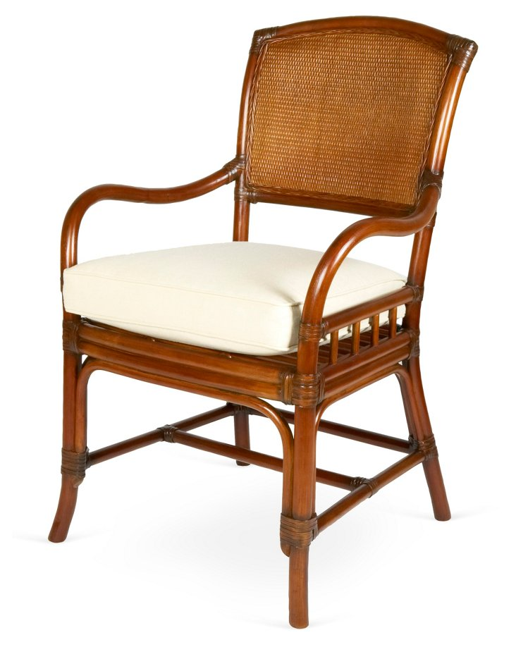 Cane-Back Armchair, White Sand