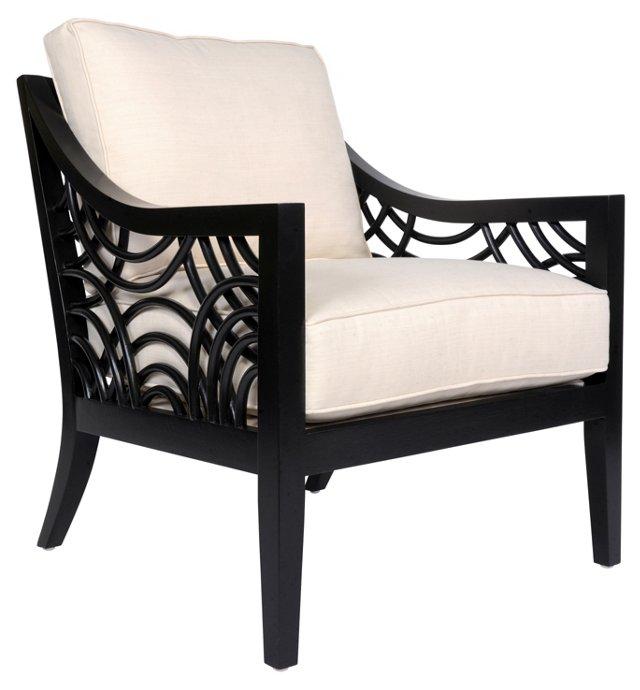 Manhattan Lounge Chair, Black/White Sand