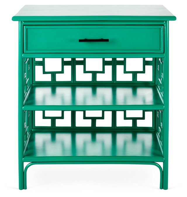 Sobe Chinoiserie Nightstand, Emerald