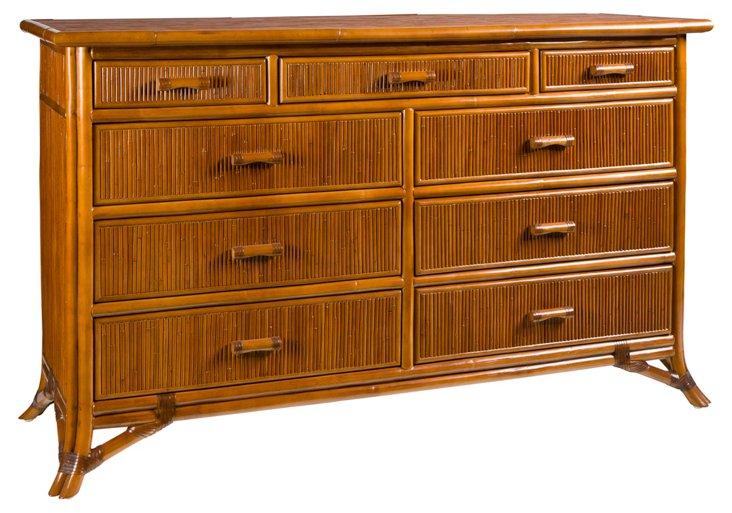 Pencil Rattan 9-Drawer Dresser, Toast