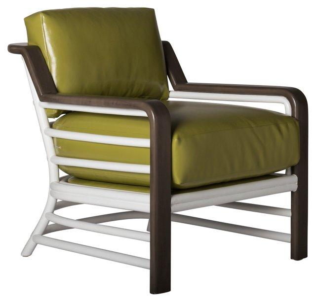 Miami Beach Rattan Lounge Chair, Wasabi