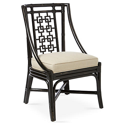 Palm Springs Side Chair, Black/Beige