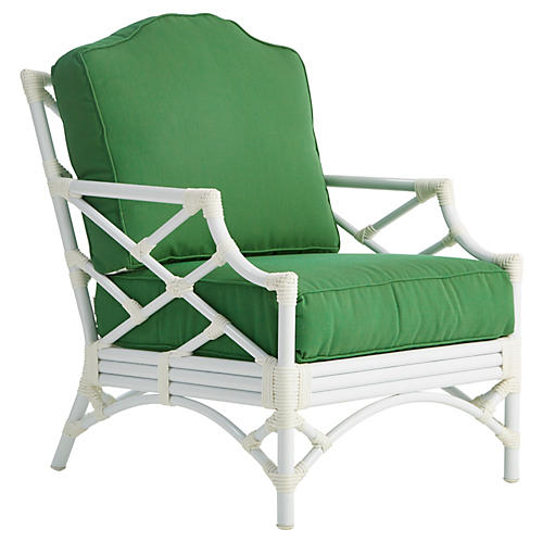 Chippendale Lounge Chair, Emerald Sunbrella