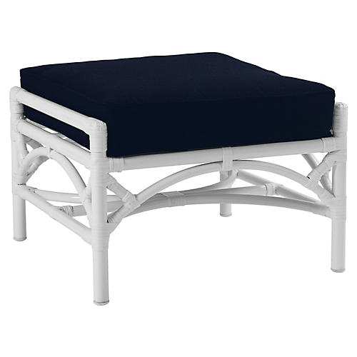 Chippendale Outdoor Ottoman, Navy Sunbrella