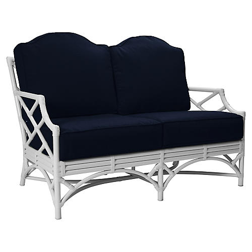 Chippendale Outdoor Loveseat, Navy Sunbrella