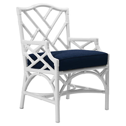 Chippendale Outdoor Armchair, Navy