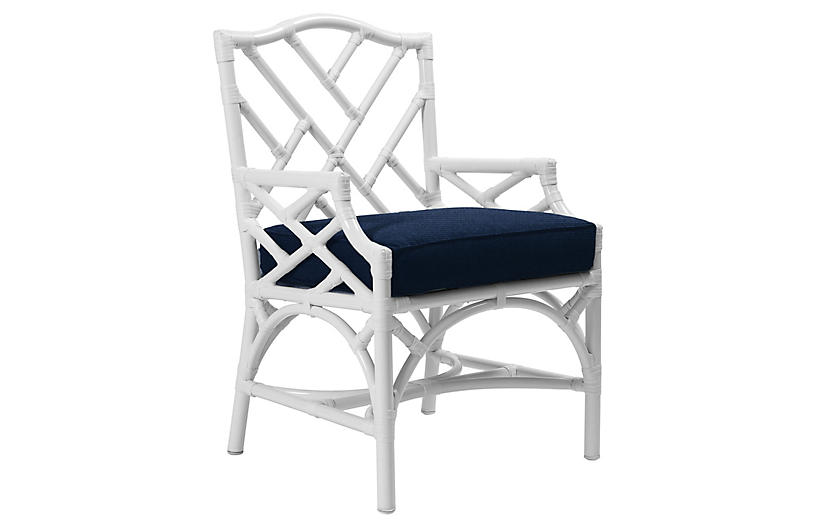 Chippendale Outdoor Armchair, Navy Sunbrella