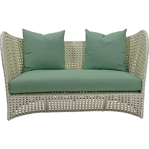 South Beach Outdoor Loveseat, Spa Sunbrella