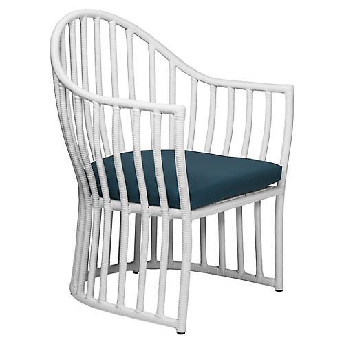 Napa Outdoor Armchair, Sapphire Blue Sunbrella