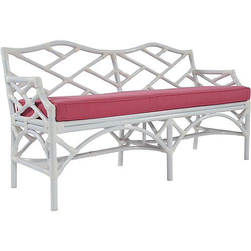 "Chippendale 60"" Sunbrella Bench, Pink"