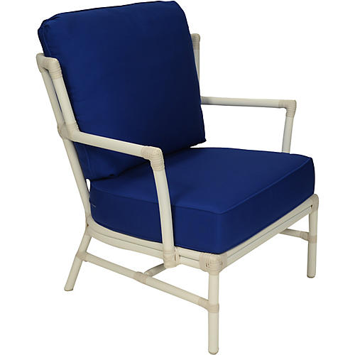Nantucket Outdoor Lounge Chair, Dark Blue