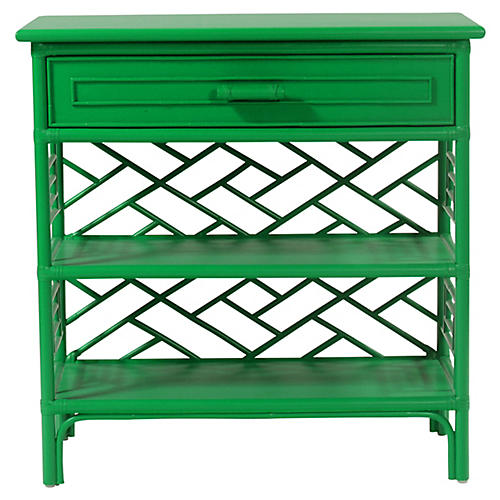 Chippendale Nightstand, Bright Green