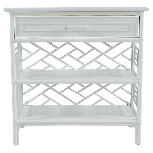 Chippendale Nightstand, White