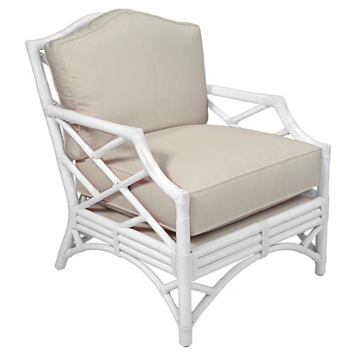 Chippendale Accent Chair, White