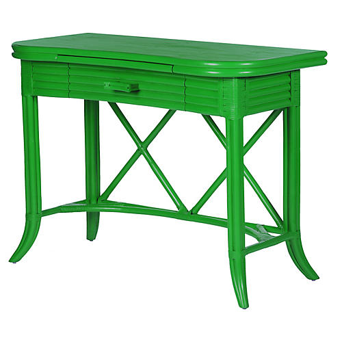 Crushed Bamboo 1-Drawer Desk, Green
