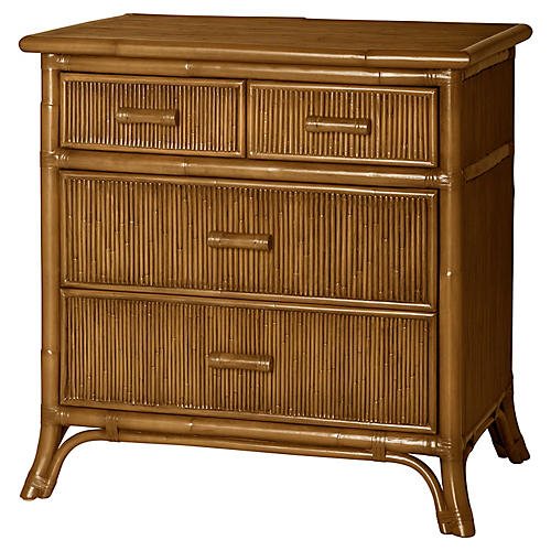 Pencil Rattan Nightstand, Camel Brown