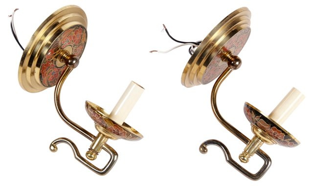 Japanese Cloisonné Brass Sconces, Pair