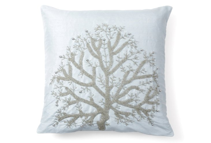 Wild Tree 20x20 Pillow, Silver/Blue
