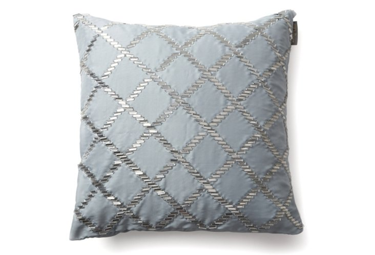 Diamond 20x20 Pillow, Silver/Blue
