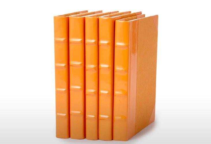 S/5 Patent Leather Books, Orange