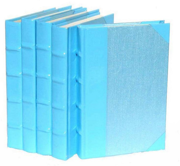 S/5 Patent-Leather Books, Blue