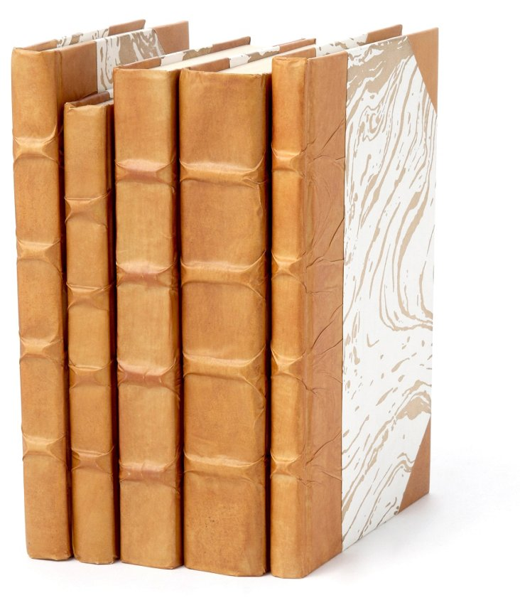 S/5 Parchment Covered Books, Honey