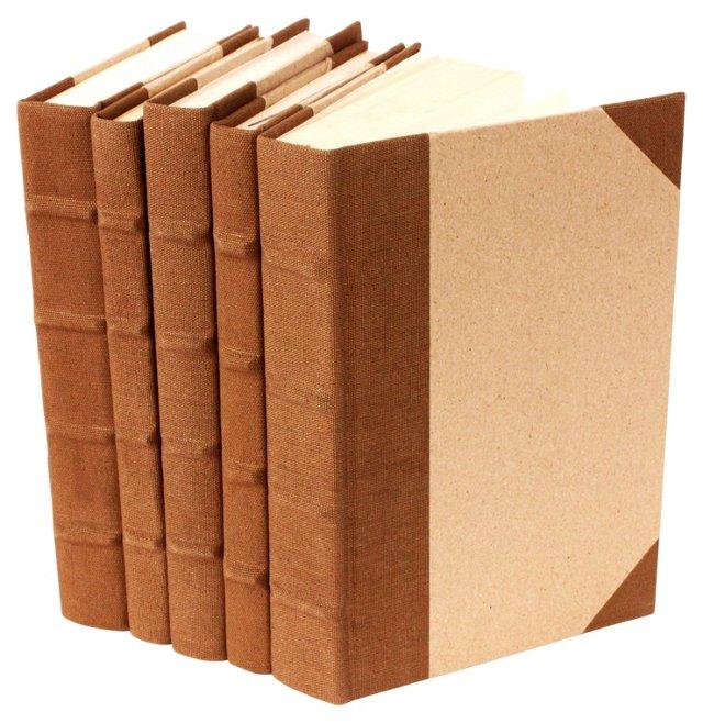S/5 Canvas Bound Books, Brown
