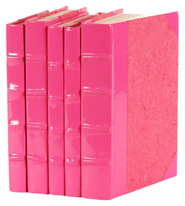 S/5 Patent-Leather Books, Pink