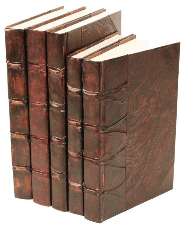 S/5 Parchment Books, Antiqued Brown