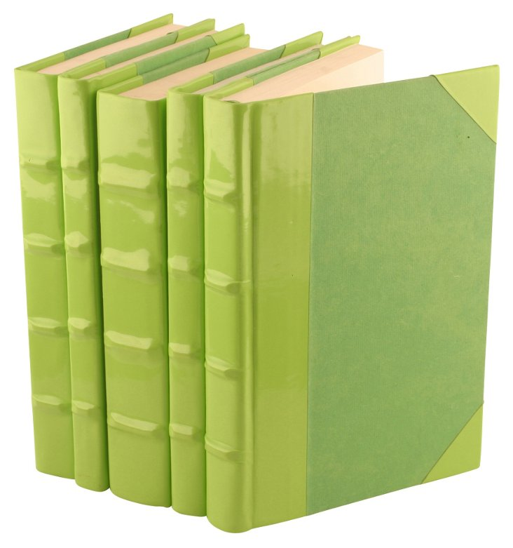 S/5 Patent-Leather Books, Lime