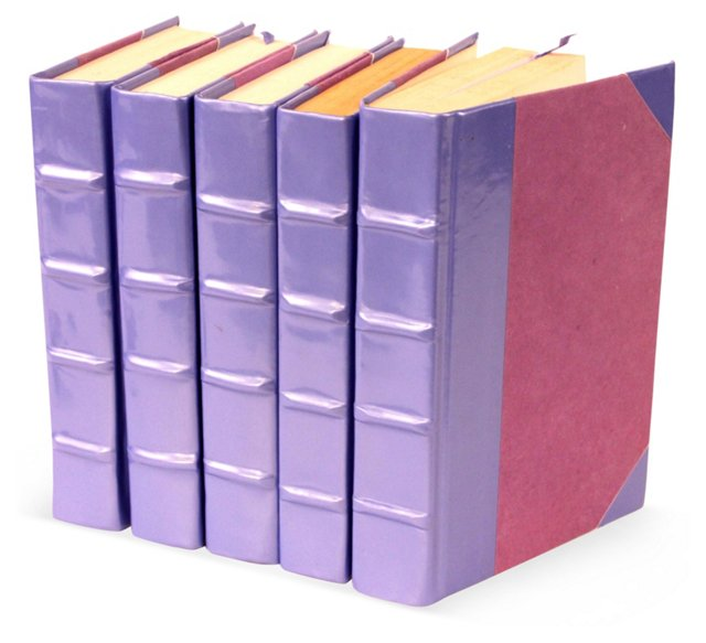 S/5 Patent-Leather Books, Lilac
