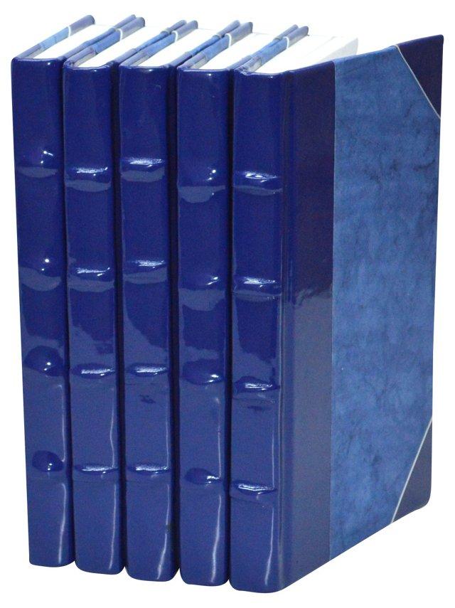 S/5 Patent-Leather Books, Cobalt