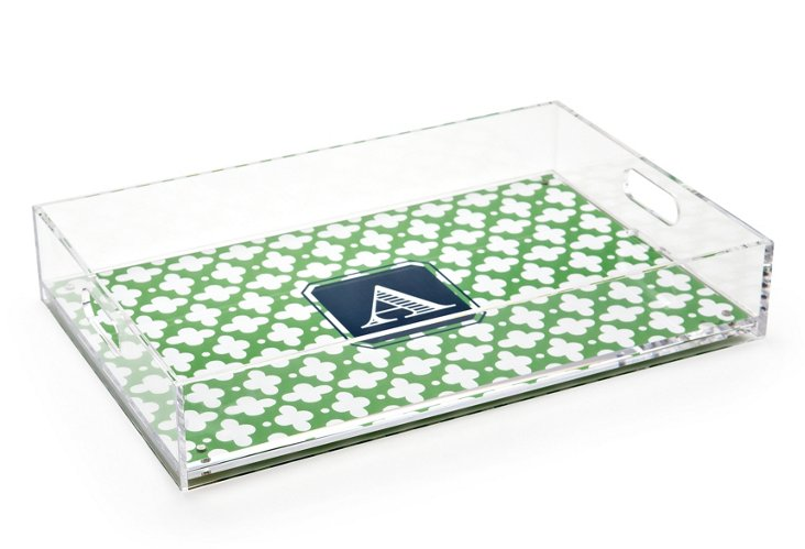 Custom Lucite Large Tray, Grass