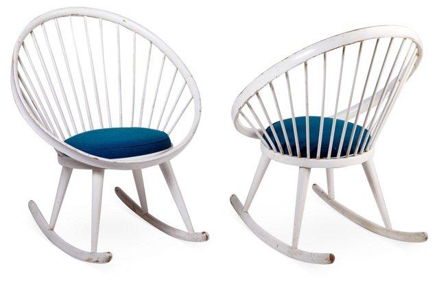 Yngve Ekstrom Rocking Chairs, Pair