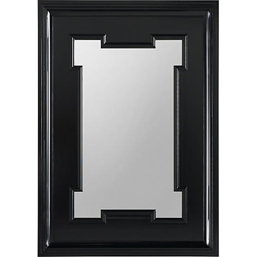 Hobart Oversize Wall Mirror, Lacquered Black