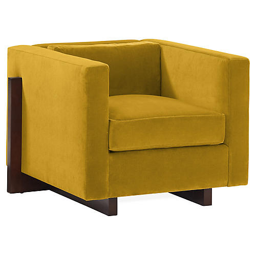Porter Club Chair, Citrine Velvet