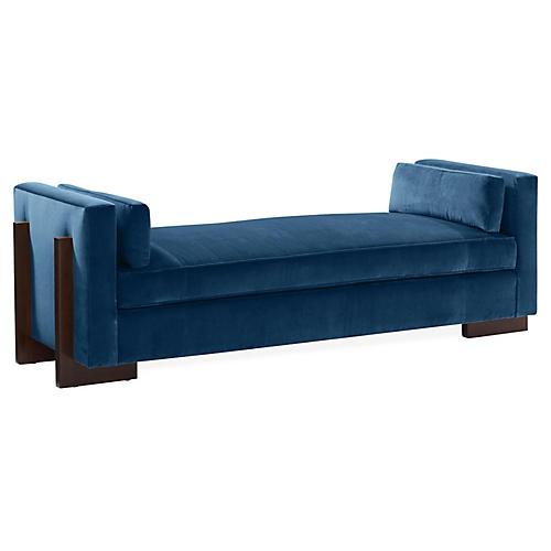 Porter Bench, Blue Velvet