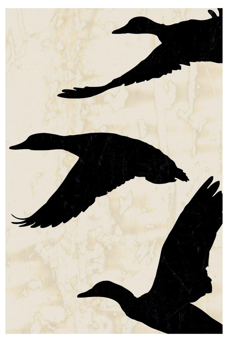 Ducks in Flight I, Black, 27x40